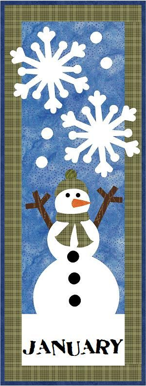 Here is a nice snowman quilt block or small wall hanging.