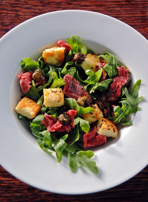 Halloumi and Beef Carpaccio Salad with Fried Capers : Scrumptions SA