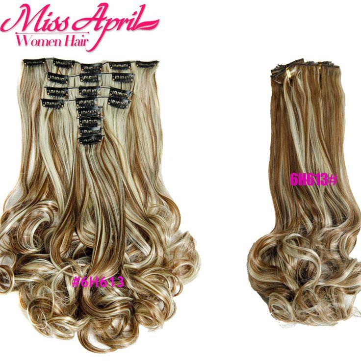 Дешевые Вьющихся Волос Клип в Наращивание Волос 180 г Клип в Синтетических Шиньоны Искусственные Волосы Расширение Клип в Натуральном