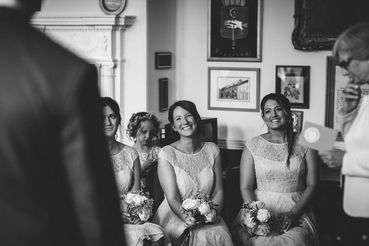 Genuine joy seeing their best mate get married. Photo by Benjamin Stuart Photography #weddingphotography #blackandwhite #bridesmaids #gettingmarried #weddingday #weddingceremony #ido