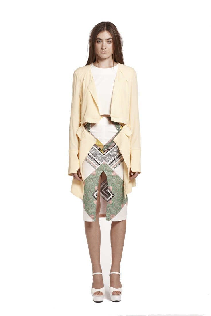 splendid wonder coat & right of passage crop top & we surrender pencil skirt