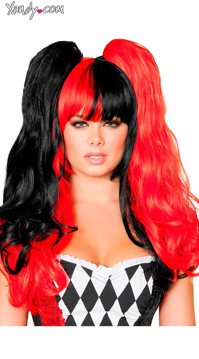 black and red pigtail wig - Red Wigs For Halloween