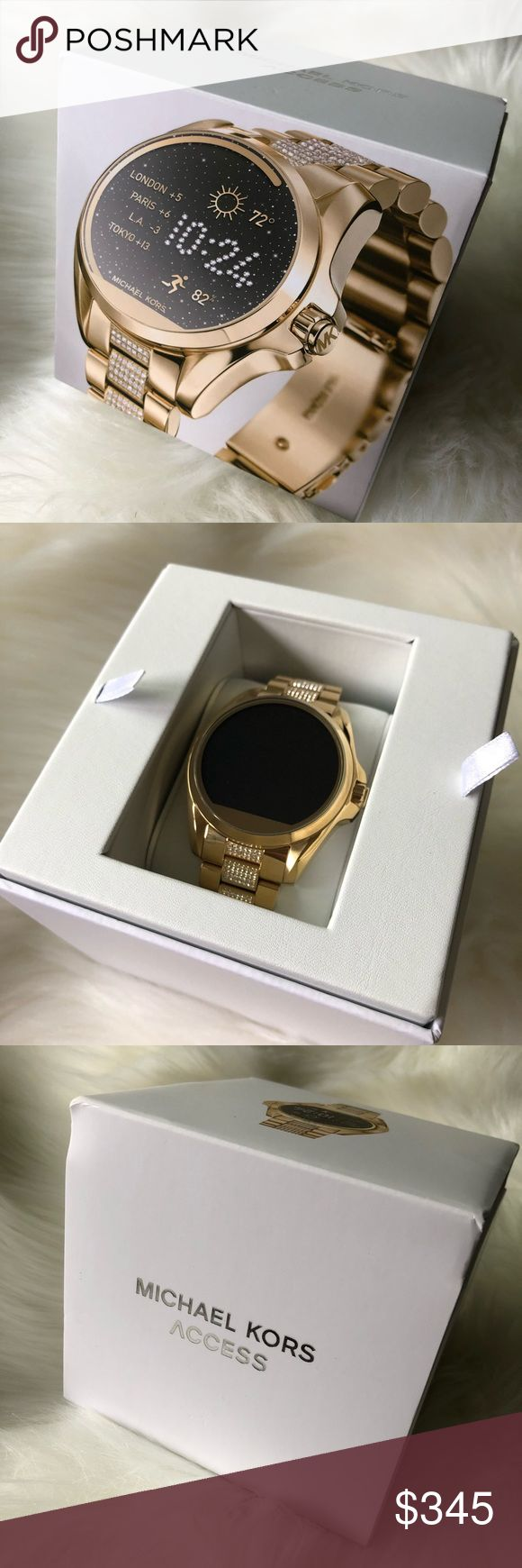 Michael Kors Access Smart Watch MK smart Watch  Brand new.Never used. Unsealed Gold-tone Activity Tracker:Yes Battery Life:Estimated all day Case Material:Stainless Steel Compatibility: Android Devices 4.3+, iOS 8+/ iPhone 5 +, iOS 7+ / iPhone 4s + Connectivity: Bluetooth® Smart Enabled / 4.1 Low Energy, Wi-Fi 802.11 b/g/n Heart Rate: No Sleep Monitor: No Interchangeable: Yes Notifications: Yes Strap Material: Stainless Steel Touchscreen: Yes In the Box: Charger Puck with USB Cord, Loose…