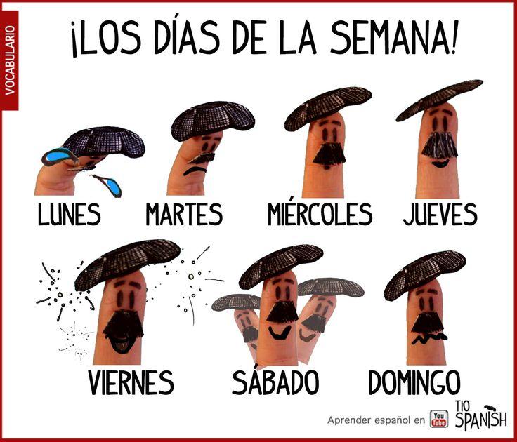 Los días de la semana en español: Lunes, martes, miércoles, jueves, sábado y domingo! Como cambia el humor en la semana!! Aprender español, vocabulario básico: Los días