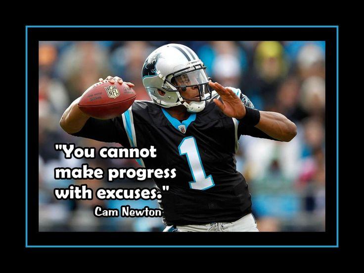 "Football Motivation Cam Newton Photo Quote Poster Carolina Panthers QB Wall Art 5x7""- 11x14"" - U Cannot Make Progress With Excuses-Free Ship (11.99 USD) by ArleyArt"