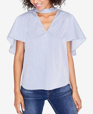 029533abad74e Shop RACHEL Rachel Roy Striped Flutter-Sleeve Top