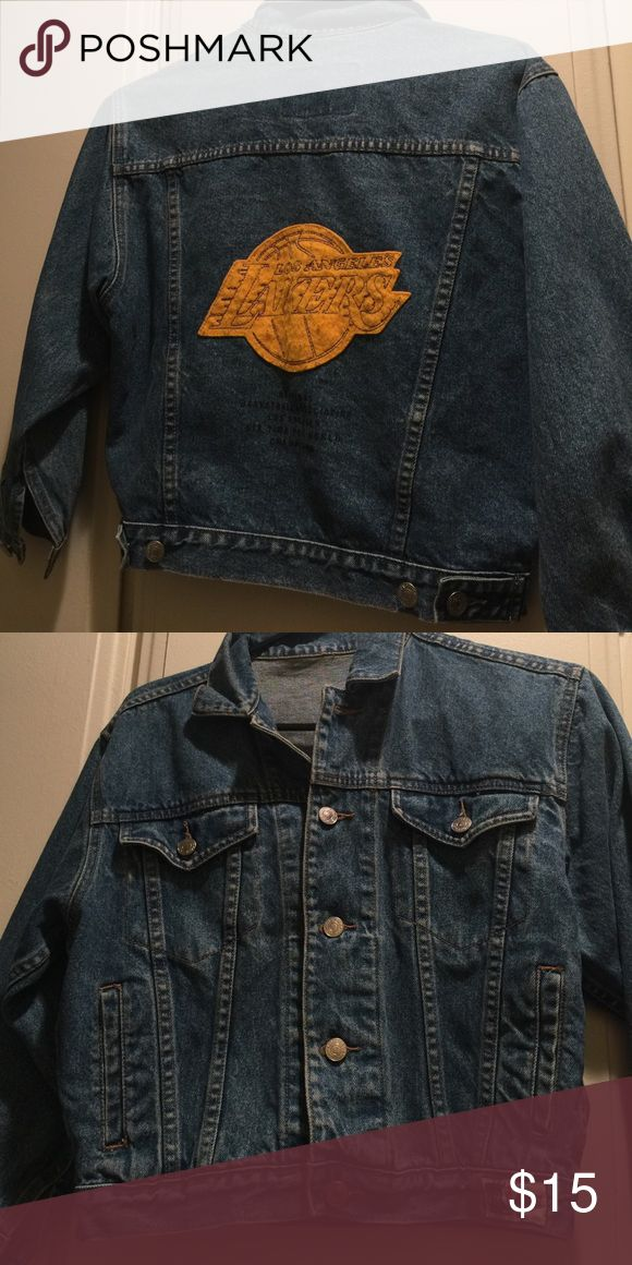 Thrifted lakers jean jacket Small and cropped with short sleeves Levi's Jackets & Coats Jean Jackets