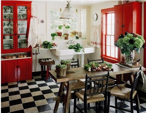 red, black, and white country kitchen | For the Home | Pinterest