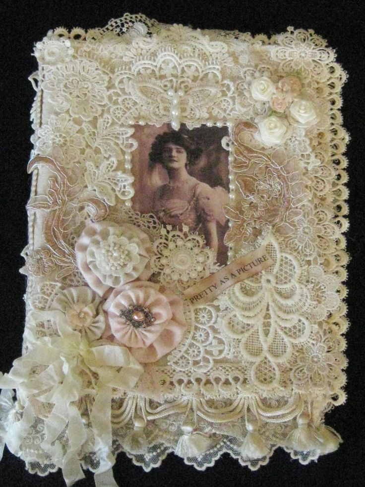 Edwardian Style Mixed Media Fabric Journal Album Book Ribbonwork and Laces…