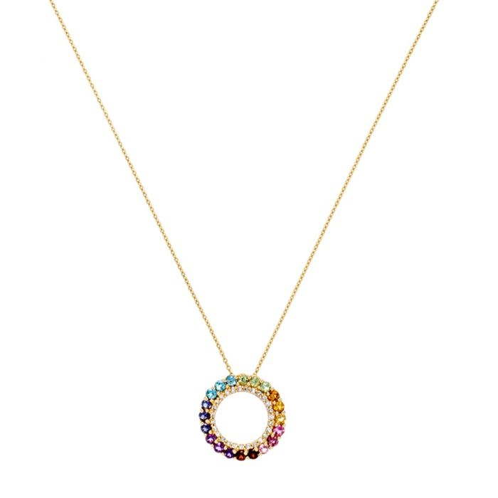 Colors of the Rainbow Circle Pendant Necklace - Sapphires and white diamonds set in yellow gold.