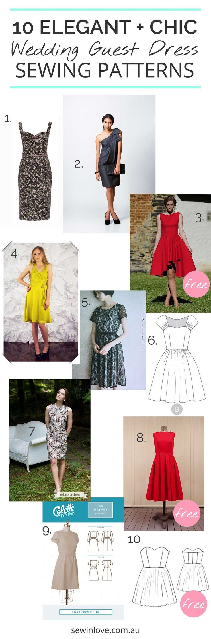 10 Wedding Guest Dresses to Make | A special occasion is just the motivation I need to sew something a little more advanced than usual. Here are 10 sewing patterns which would make an elegant and chic wedding guest outfit. 3 of them are free!