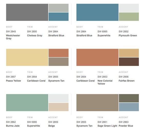 Retro 1950s Historical Shades Of Exterior Paint Colors From Sherwin Williams Beach House