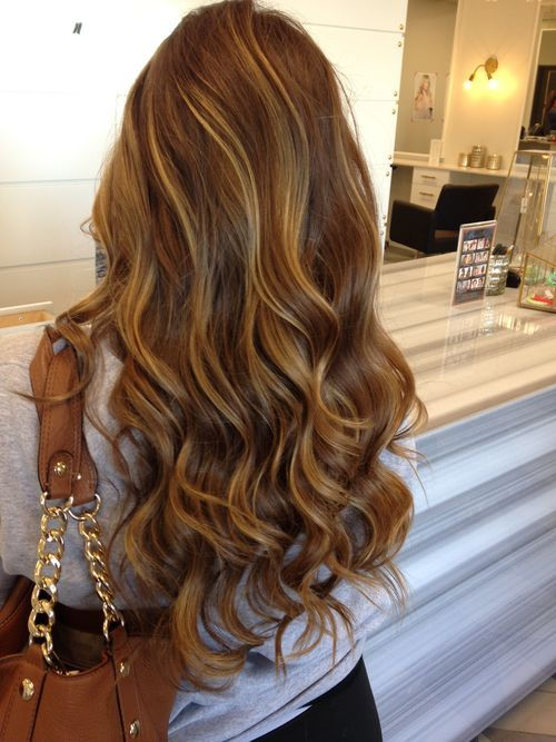 Gorgeous, light, brunette hair with caramel highlights.