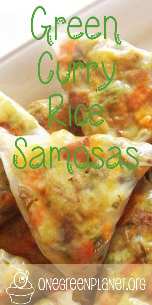 VEGAN Green Curry Rice Samosas