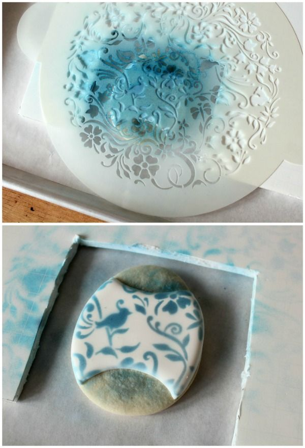 Food coloring spray mist with cake stencil