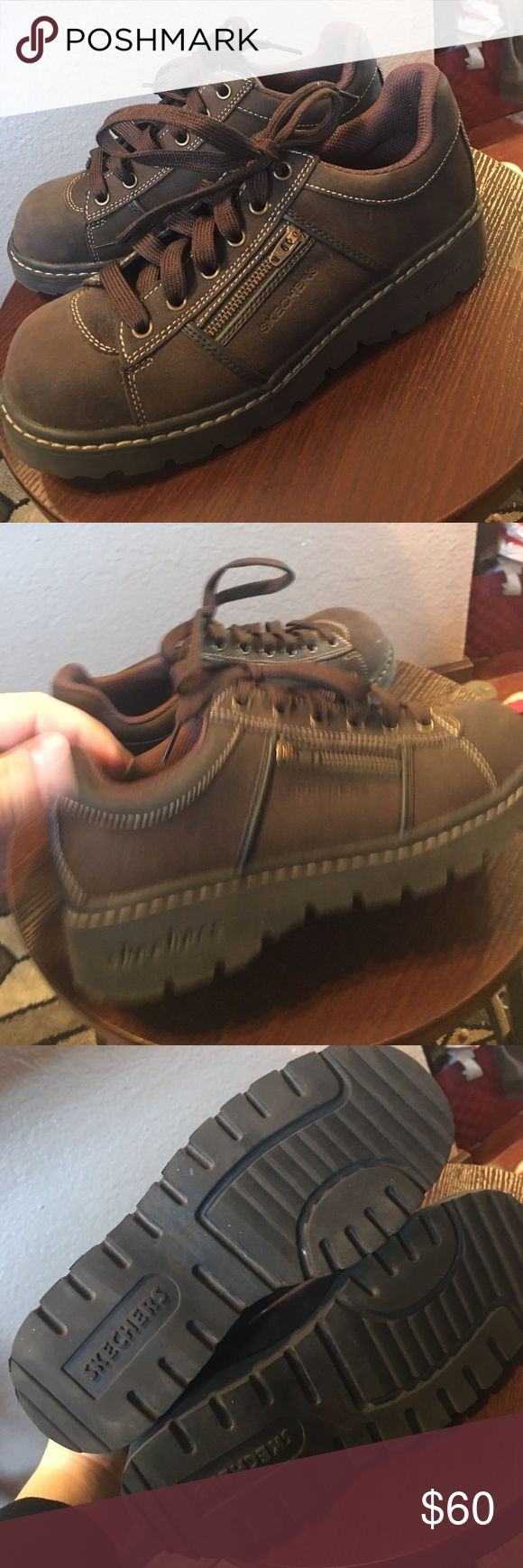 Men's sketchers brown leather upper boots New with out box or tag never warn super on sides brown size 8.5 Skechers Shoes Boots
