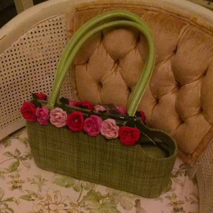 Green With Flower Trim Small Dog Carrier Purse Tote by Lulu Jane, Spring Colors #LuluJane