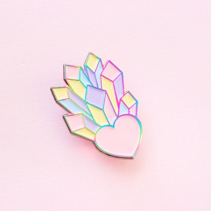 Rainbow Crystal Heart Pin
