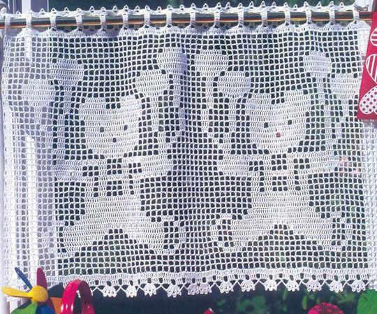 """Схема вязания крючком занавески для детской комнаты """"Мишки с шарами"""""""
