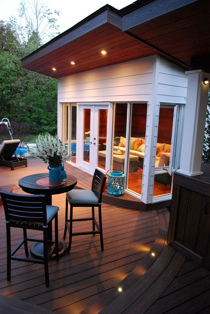 This Hardwoodaccented Exterior Room Is A Perfect Place To Lounge After  Enjoying The Hot