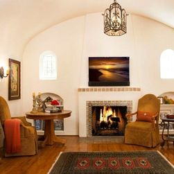 Mediterranean Fireplace Mantel Living Room Design Ideas, Pictures, Remodel and Decor