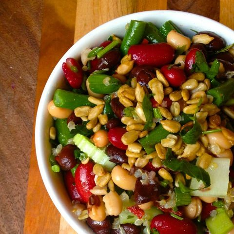 Healthy Four Bean Salad Recipe from The Lemon Bowl    #vegetarian #nutfree #beansalad #weightwatchers