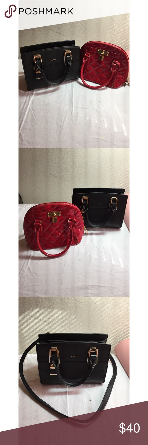 Aldo Purse bundle deal This bundle is NONNEGOTIABLE!  Perfect for Christmas gifts  This bundle includes the Aldo black mini bag & also the Aldo red mini bag  Both bags have either lightly used or never worn/zero staining on both bags. Two bags for the price of one Aldo Bags Mini Bags