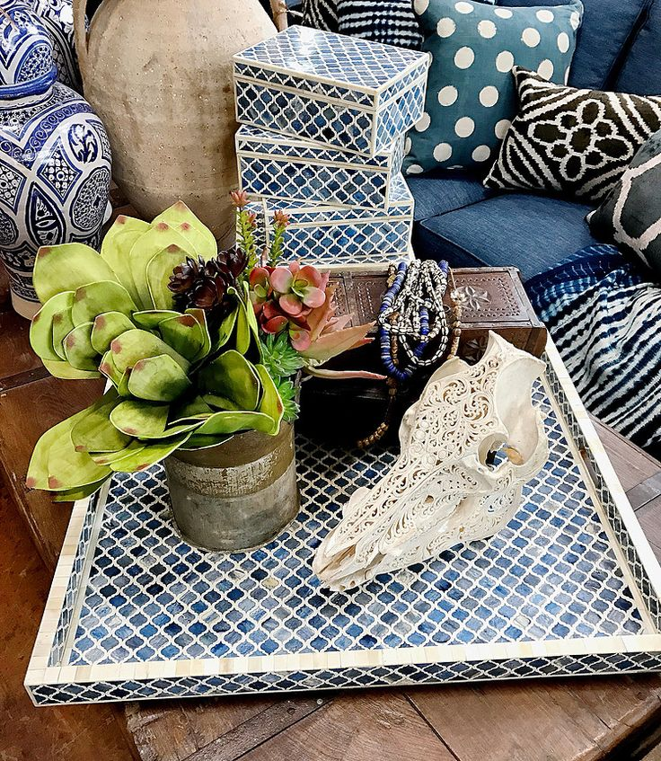 Blue Bone Inlay Trays And Boxes, Hand Carved Boar Skull   Lots Of Amazing  Boho Layers Tierra Del Lagarto   Scottsdale Furniture Store