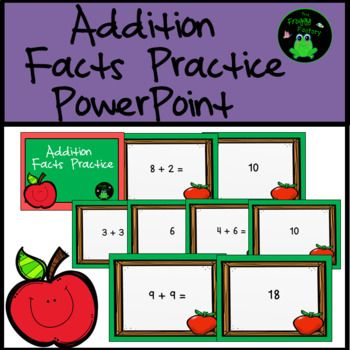 Are you looking for a fun way to do addition facts practice with your students? This PowerPoint starts at Addition 0's and 1's Facts and goes all the way through the Addition 10's facts. This is a great way to practice addition fluency. The students are shown a problem and then have 4 seconds to tell the answer.