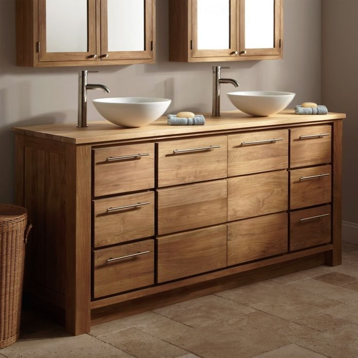 Solid wood bathroom vanity double sink; bathroom vanity cabinets. Pamper Your Home with These Amazing Wooden Bathroom Cabinets ➤To see more Luxury Bathroom ideas visit us at www.luxurybathrooms.eu #luxurybathrooms #homedecorideas #bathroomideas @BathroomsLuxury