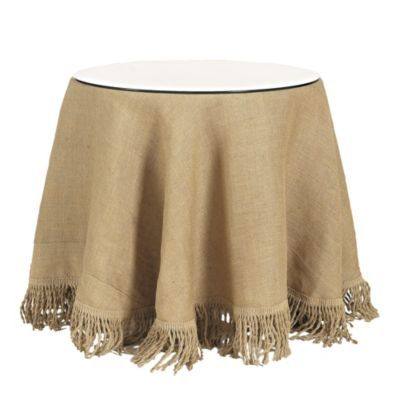 Burlap Bed Skirt With Fringe