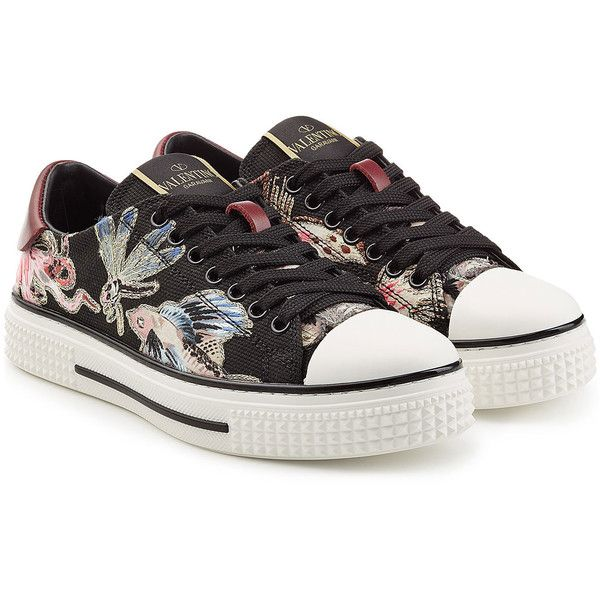 Valentino Embroidered Sneakers ($895) ❤ liked on Polyvore featuring shoes, sneakers, multicolor, colorful sneakers, bright shoes, valentino sneakers, valentino trainers and multicolor sneakers