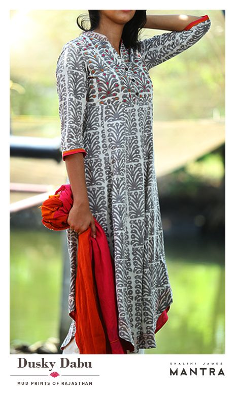 A collection of kurtas in Dabu-printed fabrics with eye-catching embroidery and detailing that highlight the beauty of this ancient mud-resist printing. Dusky dabu is out in our stores.  SHOP NOW at http://bit.ly/282rWpW