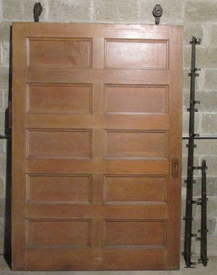 antique oak pocket door with rollers track 60 x 88 salvage