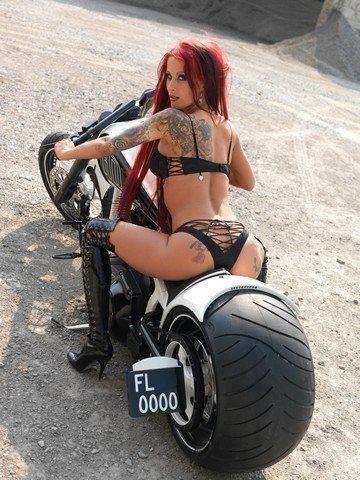 Hot girl and bike.