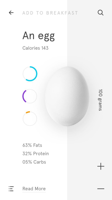 Minimalist egg nutrition data ui
