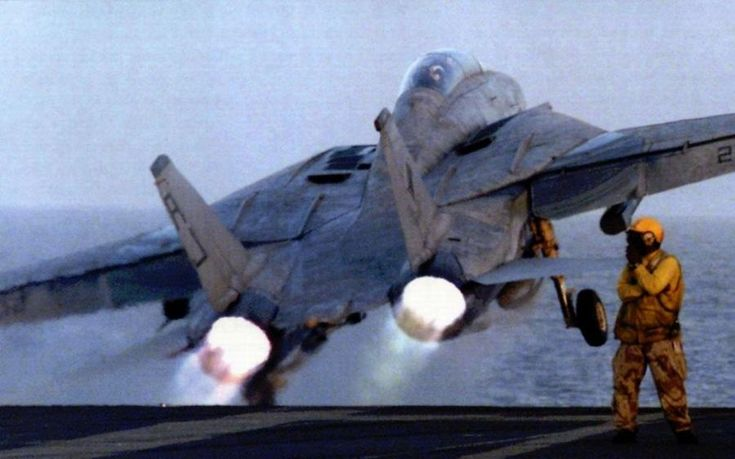 F-14 Tomcat catapulted from the flight deck...