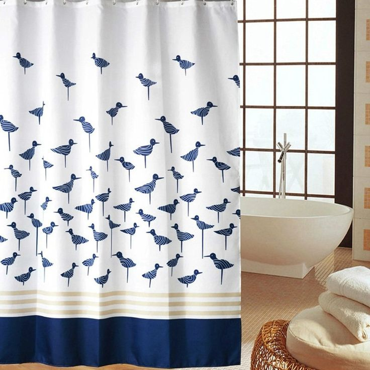 Moldiy Printed Blue Lucky Birds Pattern,Mildew Proof Polyester Fabric  Shower Curtain With Hooks Inch