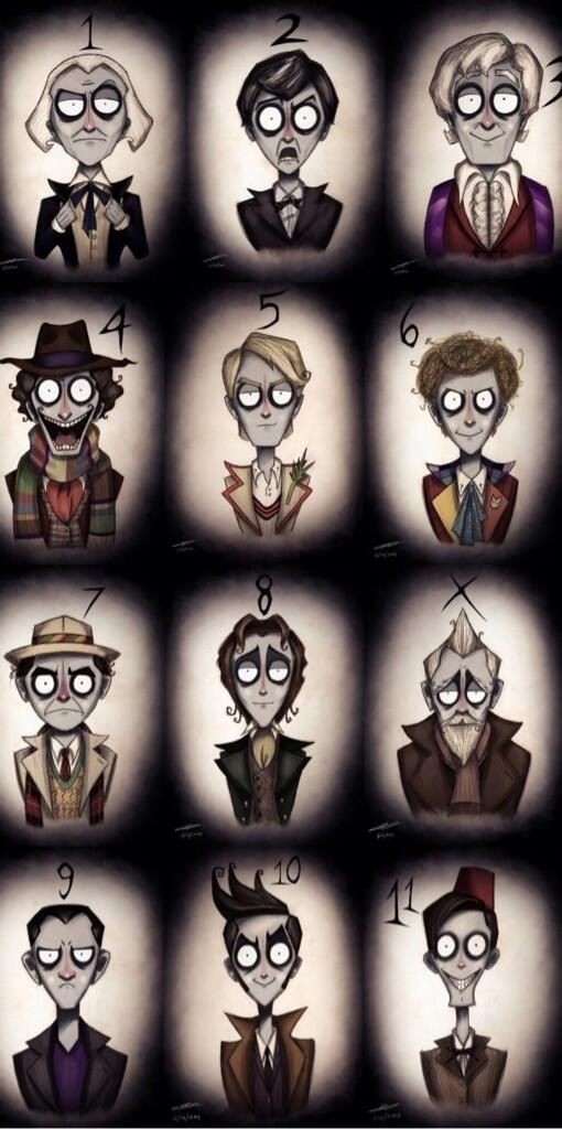 The Doctors, Tim Burton style. Just needs 12!<<< There is one now! Love Tim burton, and doctor who. Props to the artist!