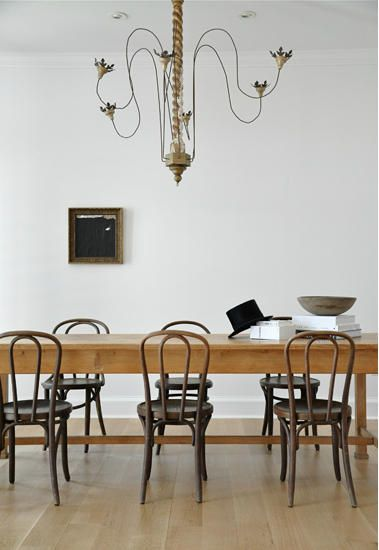 thonet and farmhouse ... too rustic? but chandelier