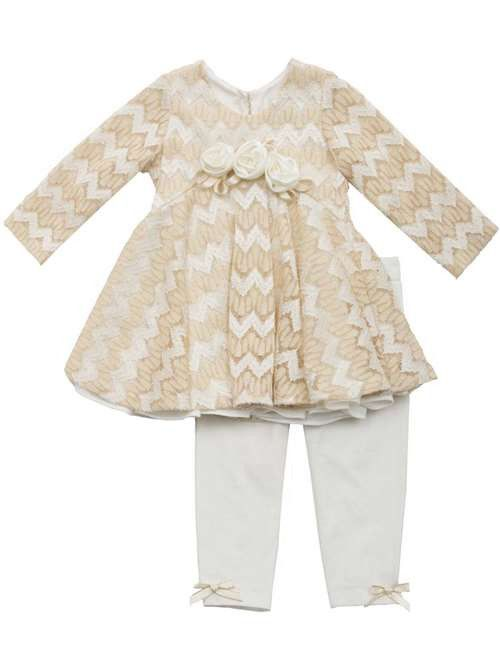 Baby & Toddler Girls Ivory/Gold Textured Knit Outfit by Rare Editions, Sizes 6M-24M