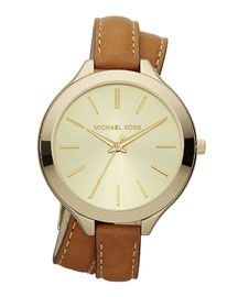 Y10RX Michael Kors Double-Wrap Leather Watch, Golden/Horn $160