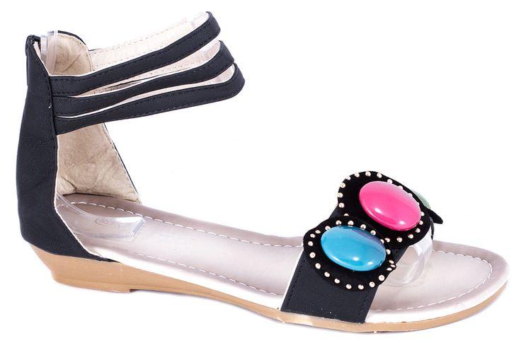 Sandale fara toc - Sandale negre de dama F-02N - Zibra