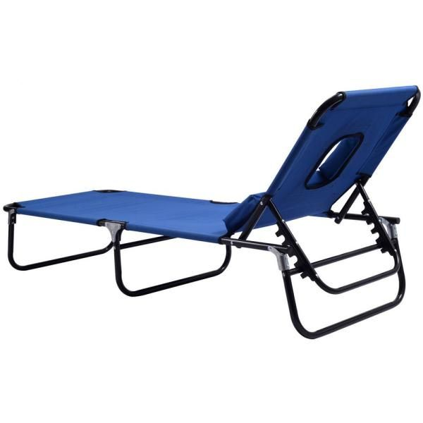 Costway Pool Yard Blue Metal Steel Frame Patio Folding Beach Chair Outdoor Chaise Lounge Chair Bed Camping Recliner Op3069 The Home Depot In 2020 Outdoor Chaise Lounge Chair Chaise Lounge Chair