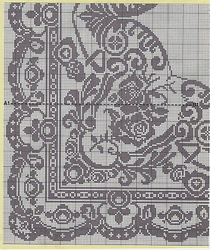 Филейное вязание Cnr piece of tablecloth, charts of edge, centre etc as well, scroll down to find it (No 32, 33 & 34)