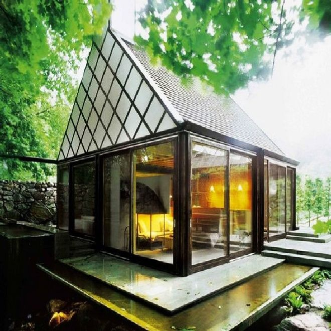 Modern and cozy vacation in the house with private steam for Small vacation home plans
