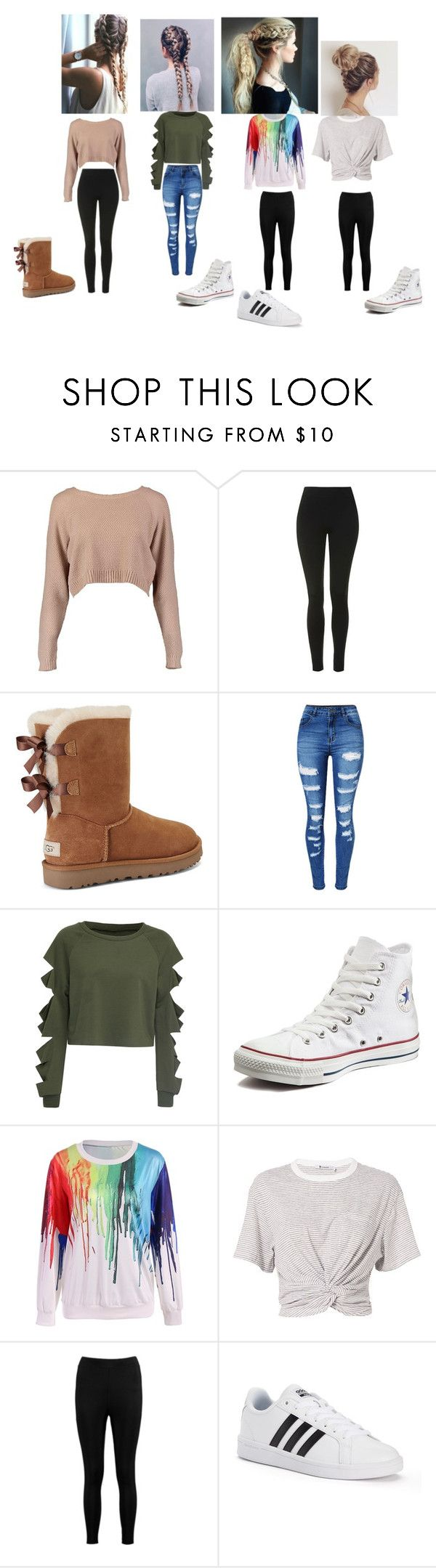 """""""squad"""" by nylaalvarez on Polyvore featuring Boohoo, Topshop, UGG, WithChic, Converse, T By Alexander Wang and adidas"""