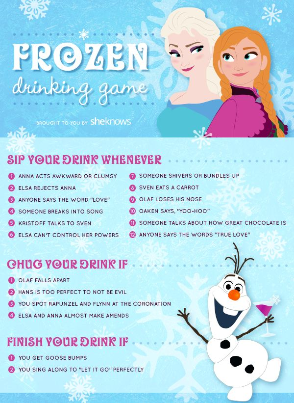 Frozen Drinking Game I'm so going to try this!