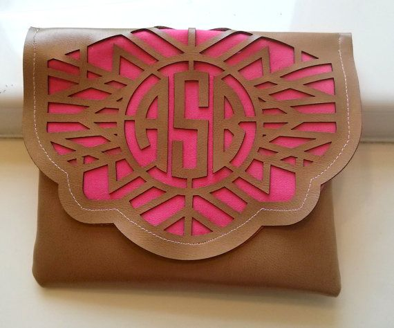 Laser cut monogrammed leather clutch by MyGirlJosephine on Etsy, $35.00