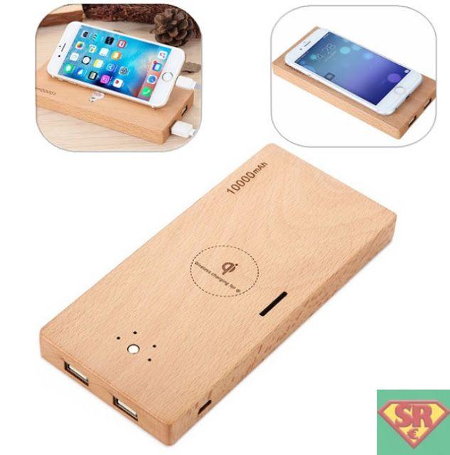 10000mAh QI Wireless Charging Wood Double USB Power Bank